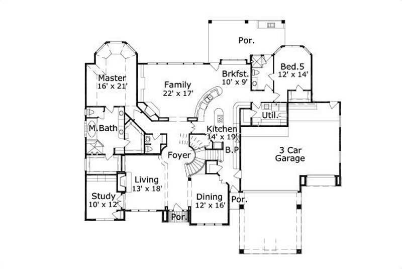 Traditional house plans home design ohp 30695 16102 for 1077 marinaside crescent floor plan
