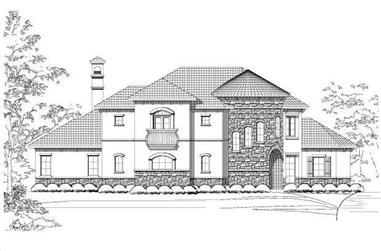4-Bedroom, 3900 Sq Ft Spanish House Plan - 156-1085 - Front Exterior