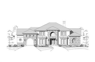4-Bedroom, 4432 Sq Ft Tuscan House Plan - 156-1139 - Front Exterior
