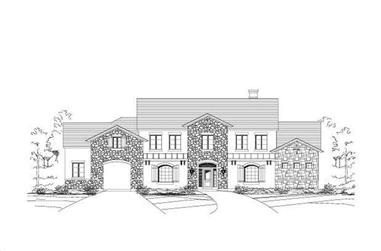 4-Bedroom, 4432 Sq Ft Tuscan House Plan - 156-1140 - Front Exterior