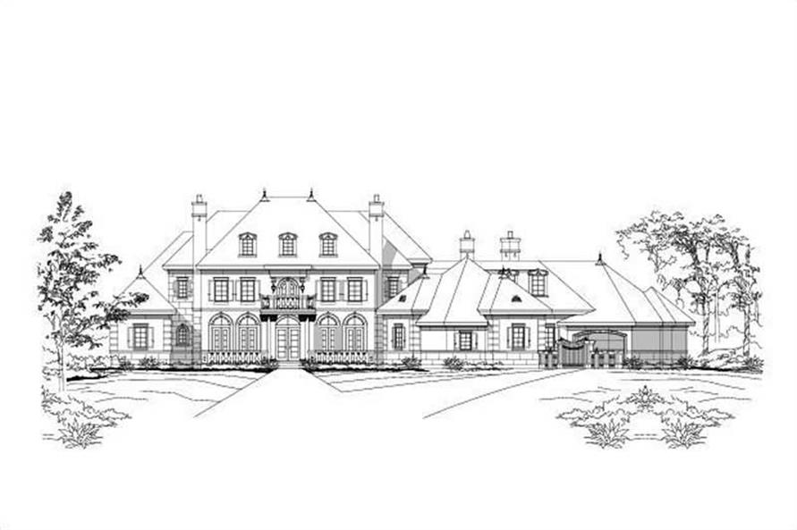 4-Bedroom, 7492 Sq Ft French House Plan - 156-1142 - Front Exterior