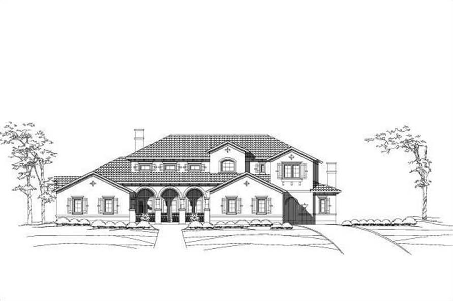 4-Bedroom, 6050 Sq Ft Mediterranean House Plan - 156-1145 - Front Exterior