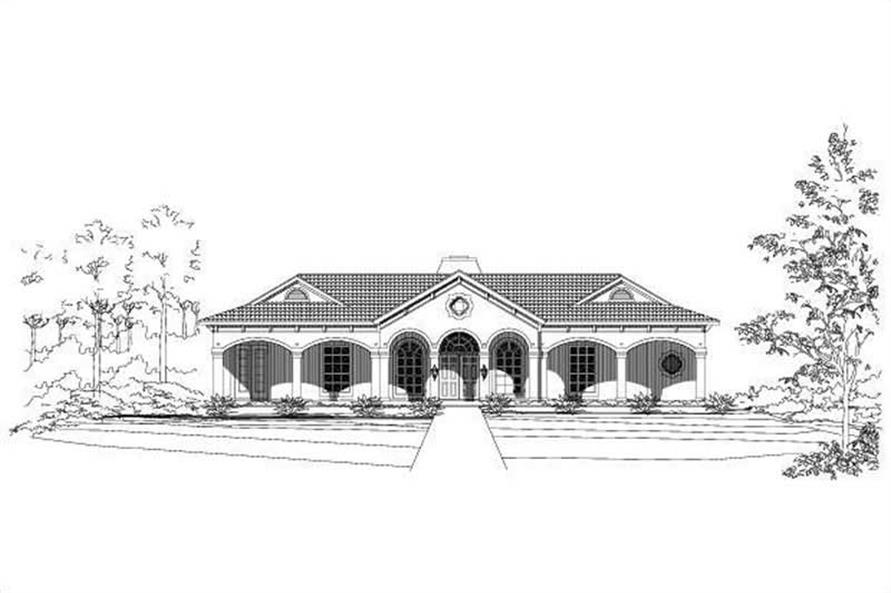 3-Bedroom, 2974 Sq Ft Mediterranean House Plan - 156-1165 - Front Exterior