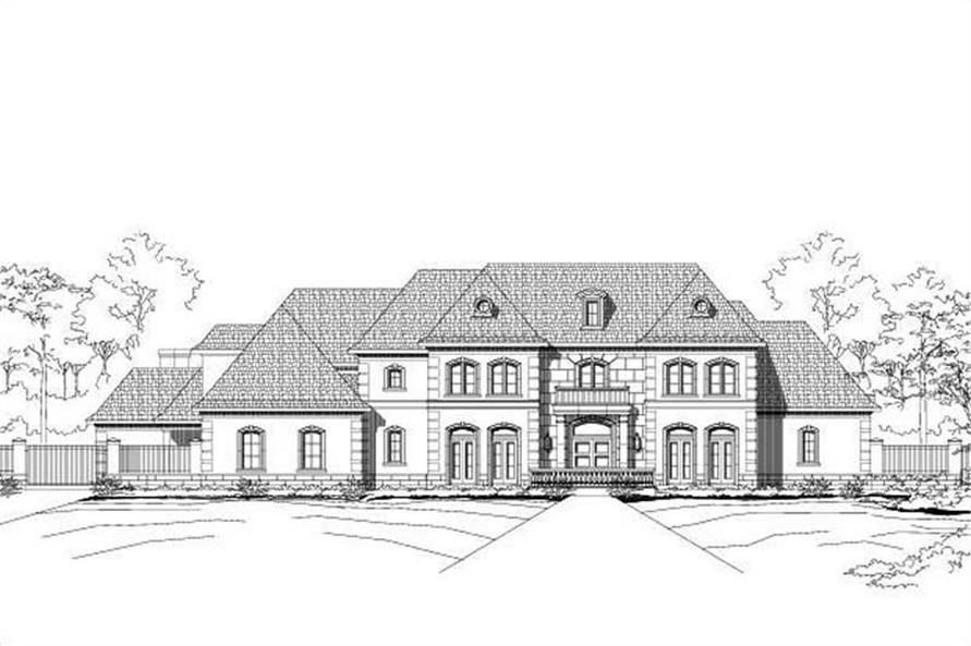 4-Bedroom, 6834 Sq Ft French House Plan - 156-1168 - Front Exterior