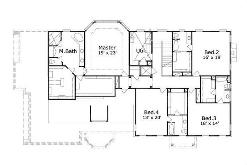 This image shows the master bedroom and bath along with 2 bedrooms.
