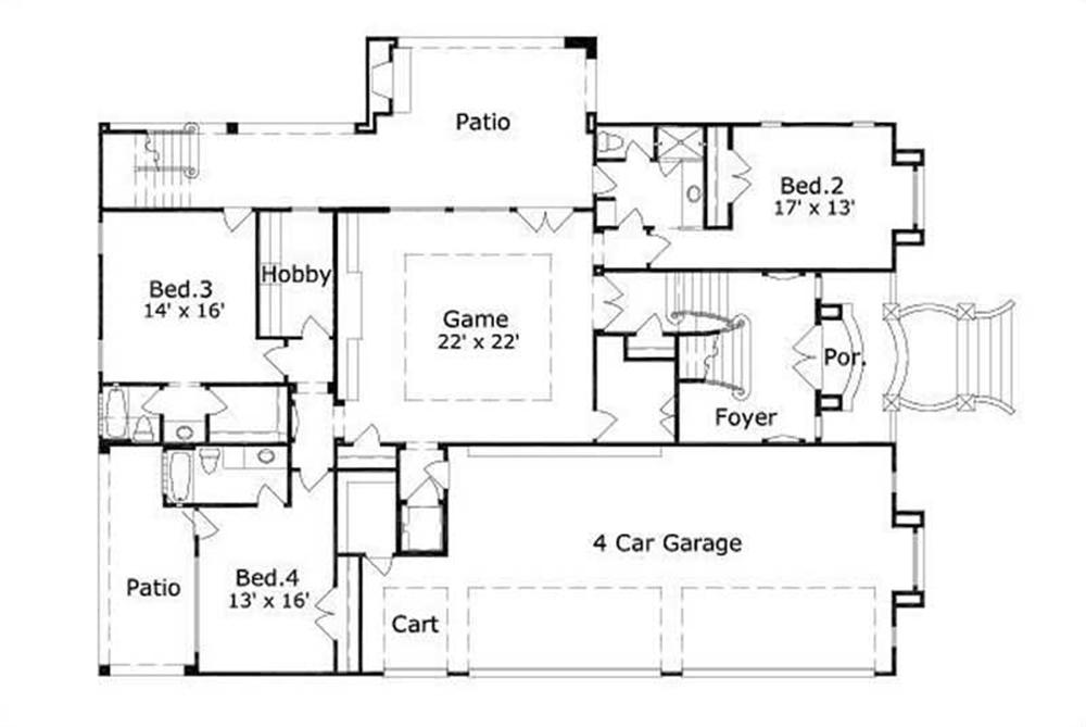 House plans with 4 car garage for Four car garage house plans