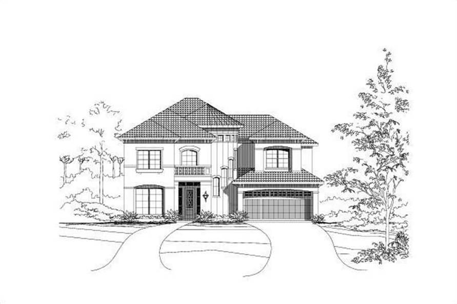 4-Bedroom, 4007 Sq Ft Mediterranean House Plan - 156-1216 - Front Exterior