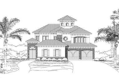 3-Bedroom, 4104 Sq Ft Mediterranean House Plan - 156-1222 - Front Exterior