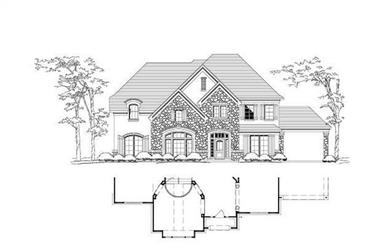 5-Bedroom, 4504 Sq Ft Country House Plan - 156-1258 - Front Exterior