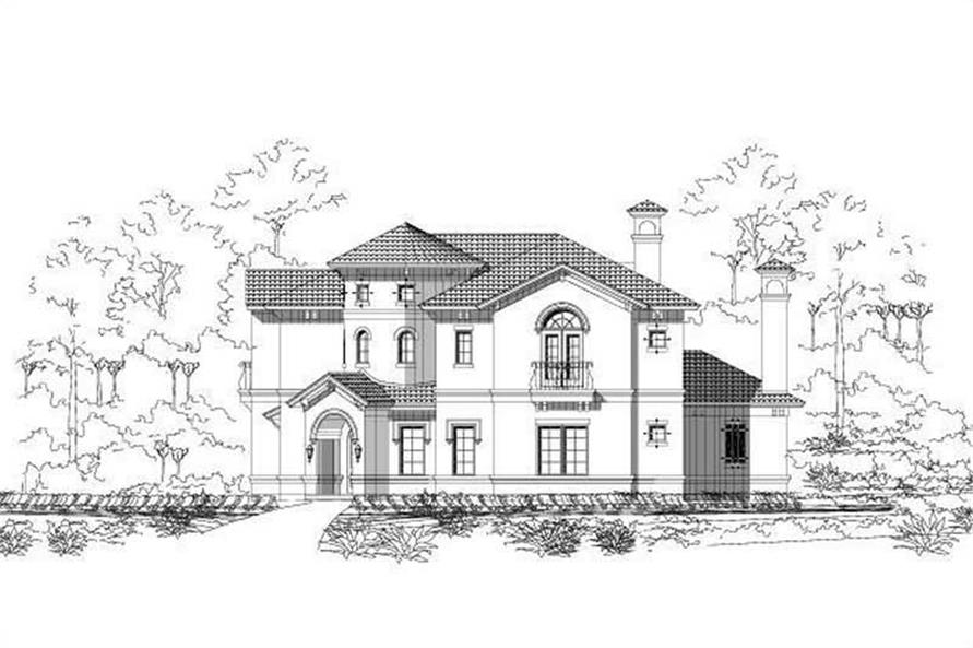 4-Bedroom, 4487 Sq Ft Mediterranean House Plan - 156-1259 - Front Exterior