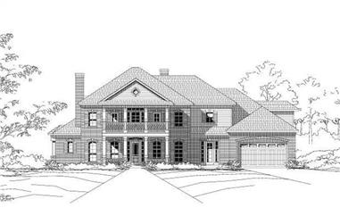 4-Bedroom, 4448 Sq Ft Colonial House Plan - 156-1264 - Front Exterior