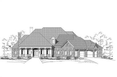 4-Bedroom, 4697 Sq Ft Country House Plan - 156-1275 - Front Exterior