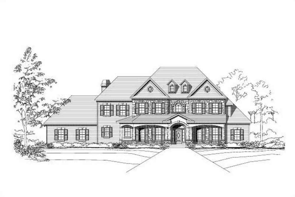 Front elevation of Luxury home (ThePlanCollection: House Plan #156-1277)
