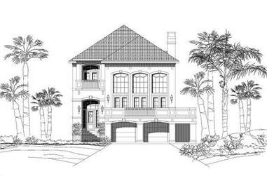 3-Bedroom, 3047 Sq Ft Coastal House Plan - 156-1288 - Front Exterior