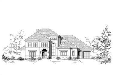 4-Bedroom, 4631 Sq Ft Mediterranean House Plan - 156-1291 - Front Exterior