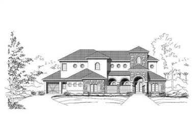 4-Bedroom, 4598 Sq Ft Tuscan House Plan - 156-1293 - Front Exterior