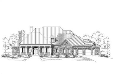 4-Bedroom, 4697 Sq Ft Country House Plan - 156-1297 - Front Exterior