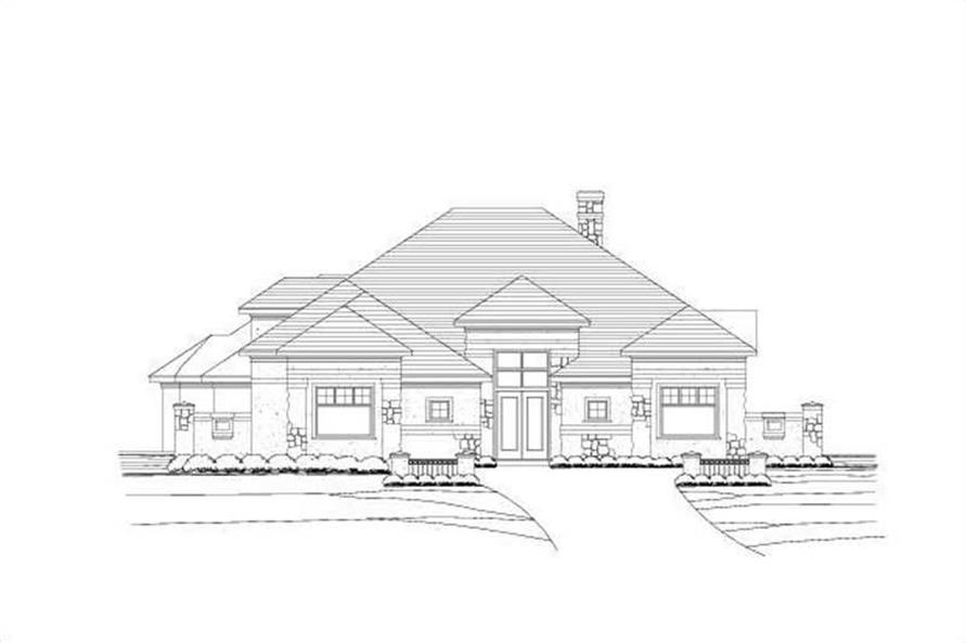 3-Bedroom, 3226 Sq Ft Spanish Home Plan - 156-1298 - Main Exterior