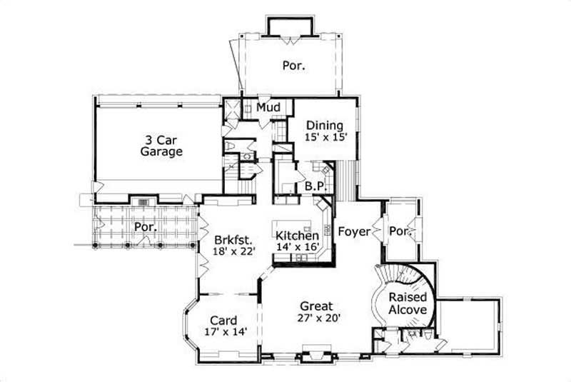 This image shows the living and dining areas along with the 3 car garage.