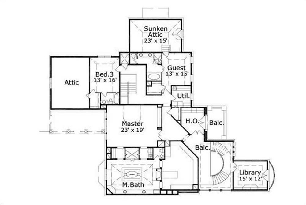 This image shows the master bedroom and bath along with the library and sunken attic.