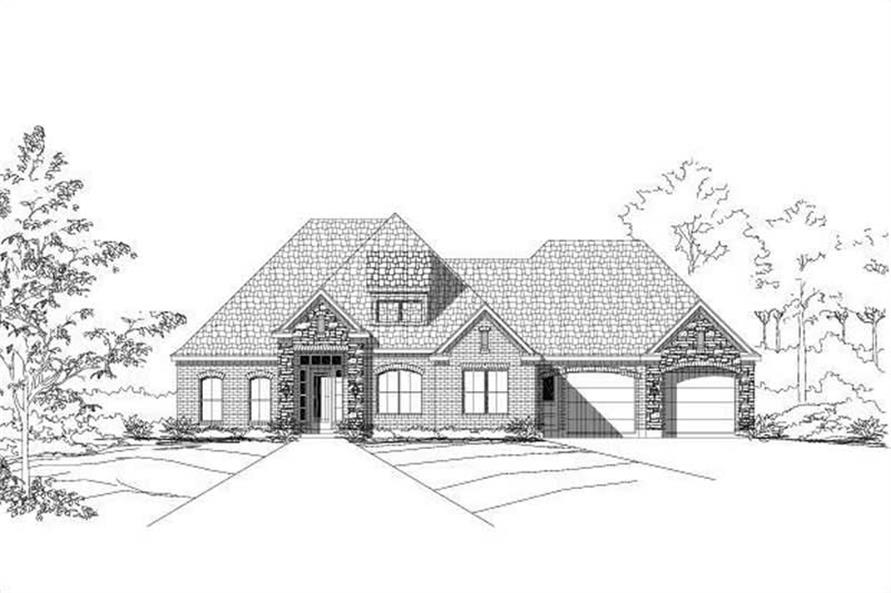 4-Bedroom, 3120 Sq Ft Traditional Home Plan - 156-1306 - Main Exterior