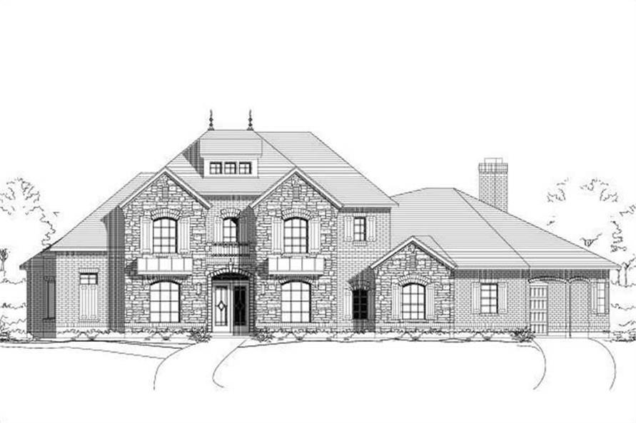 4-Bedroom, 4192 Sq Ft French House Plan - 156-1317 - Front Exterior