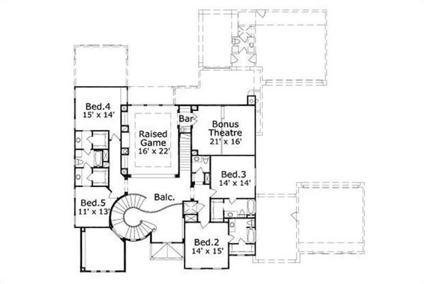 This image shows the raised game, theater, and 4 bedrooms.