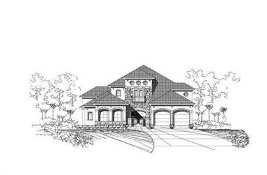 3-Bedroom, 4458 Sq Ft Tuscan Home Plan - 156-1326 - Main Exterior