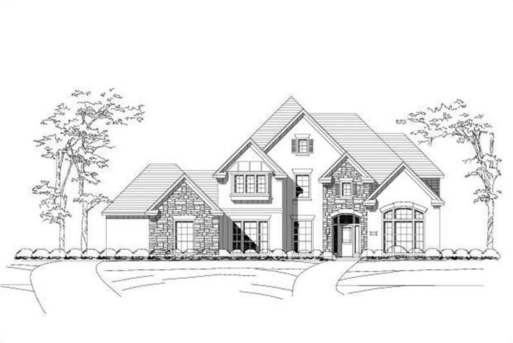 Front elevation of Luxury home (ThePlanCollection: House Plan #156-1328)
