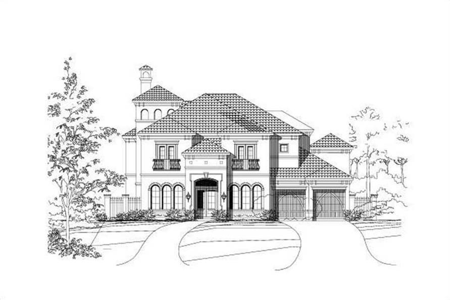 4-Bedroom, 5042 Sq Ft Mediterranean House Plan - 156-1344 - Front Exterior