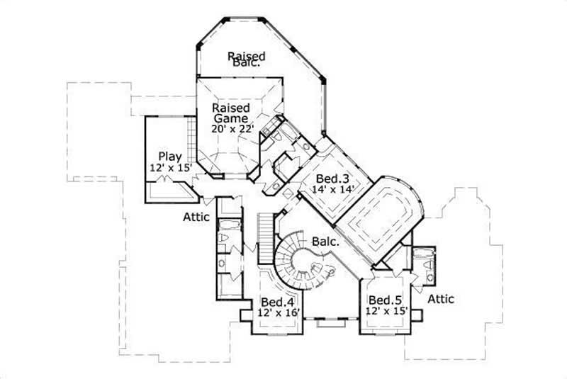 This image shows the game and playrooms along with 3 bedrooms.