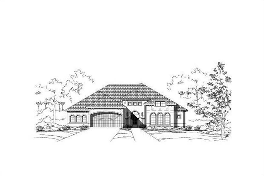 4-Bedroom, 4565 Sq Ft Mediterranean House Plan - 156-1382 - Front Exterior