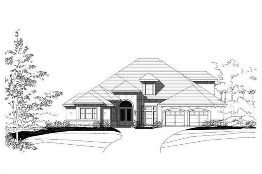 3-Bedroom, 4046 Sq Ft Luxury Home Plan - 156-1383 - Main Exterior