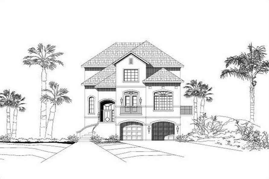 3-Bedroom, 3384 Sq Ft Coastal House Plan - 156-1396 - Front Exterior