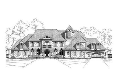 5-Bedroom, 7157 Sq Ft French House Plan - 156-1402 - Front Exterior