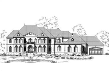 4-Bedroom, 6478 Sq Ft French Home Plan - 156-1403 - Main Exterior