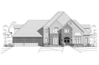 4-Bedroom, 4766 Sq Ft Country Home Plan - 156-1416 - Main Exterior