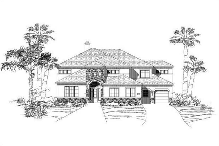 5-Bedroom, 4688 Sq Ft Spanish Home Plan - 156-1427 - Main Exterior