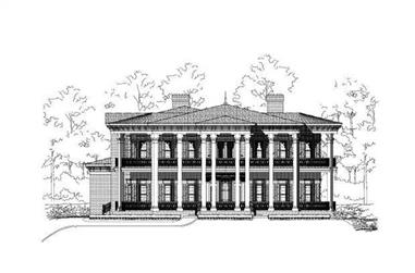 4-Bedroom, 6854 Sq Ft Colonial Home Plan - 156-1443 - Main Exterior