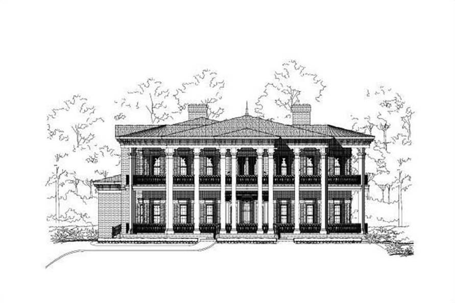 Front elevation of Colonial home (ThePlanCollection: House Plan #156-1443)