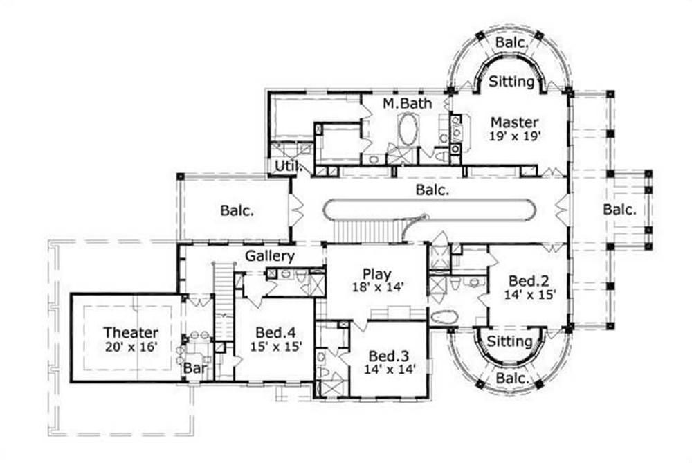 This image shows the theater and the master bedroom and bath.
