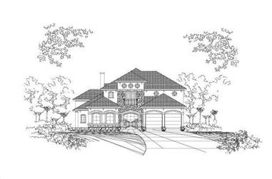 3-Bedroom, 4743 Sq Ft Tuscan House Plan - 156-1448 - Front Exterior