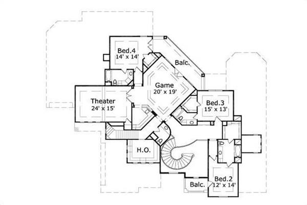 This image shows the game, theater, and 3 bedrooms.