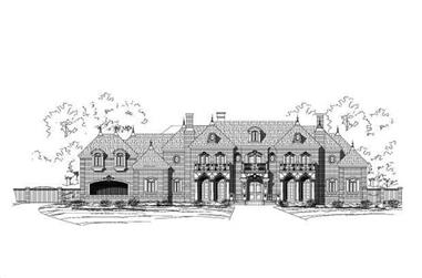 5-Bedroom, 8541 Sq Ft French House Plan - 156-1456 - Front Exterior