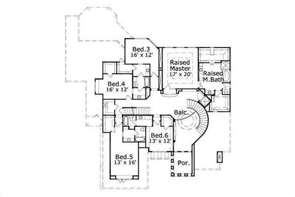 This image shows the master bedroom and bath along with 3 bedrooms.
