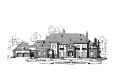 5-Bedroom, 12084 Sq Ft French Home Plan - 156-1464 - Main Exterior