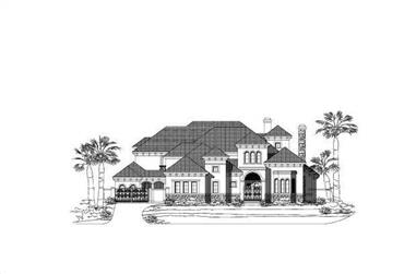 5-Bedroom, 6279 Sq Ft Spanish House Plan - 156-1466 - Front Exterior