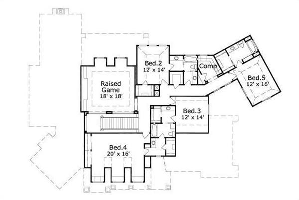 This image shows the raised game room along with 3 bedrooms.