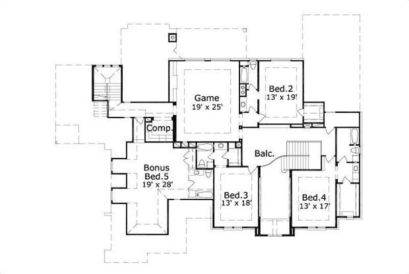 This image shows the game room along with 4 bedrooms.