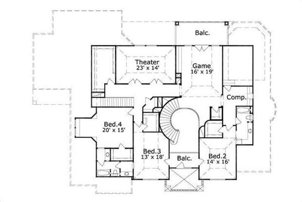This image shows the theater, game, and 3 bedrooms.